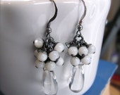 Smooth Gemstone Cluster Earrings Quartz with White Agate and Oxidised Sterling Silver, Gunmetal