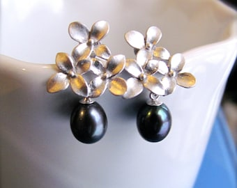 Black Floral Earrings - AAA Black Pearl drops on silver Sakura earring posts