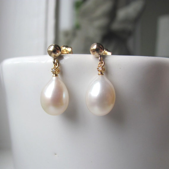 Pearl Drop Earrings with Gold Vermeil and Cubic Zirconia
