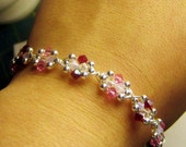 Sweetheart Pink and Red Silver Wire Bracelet