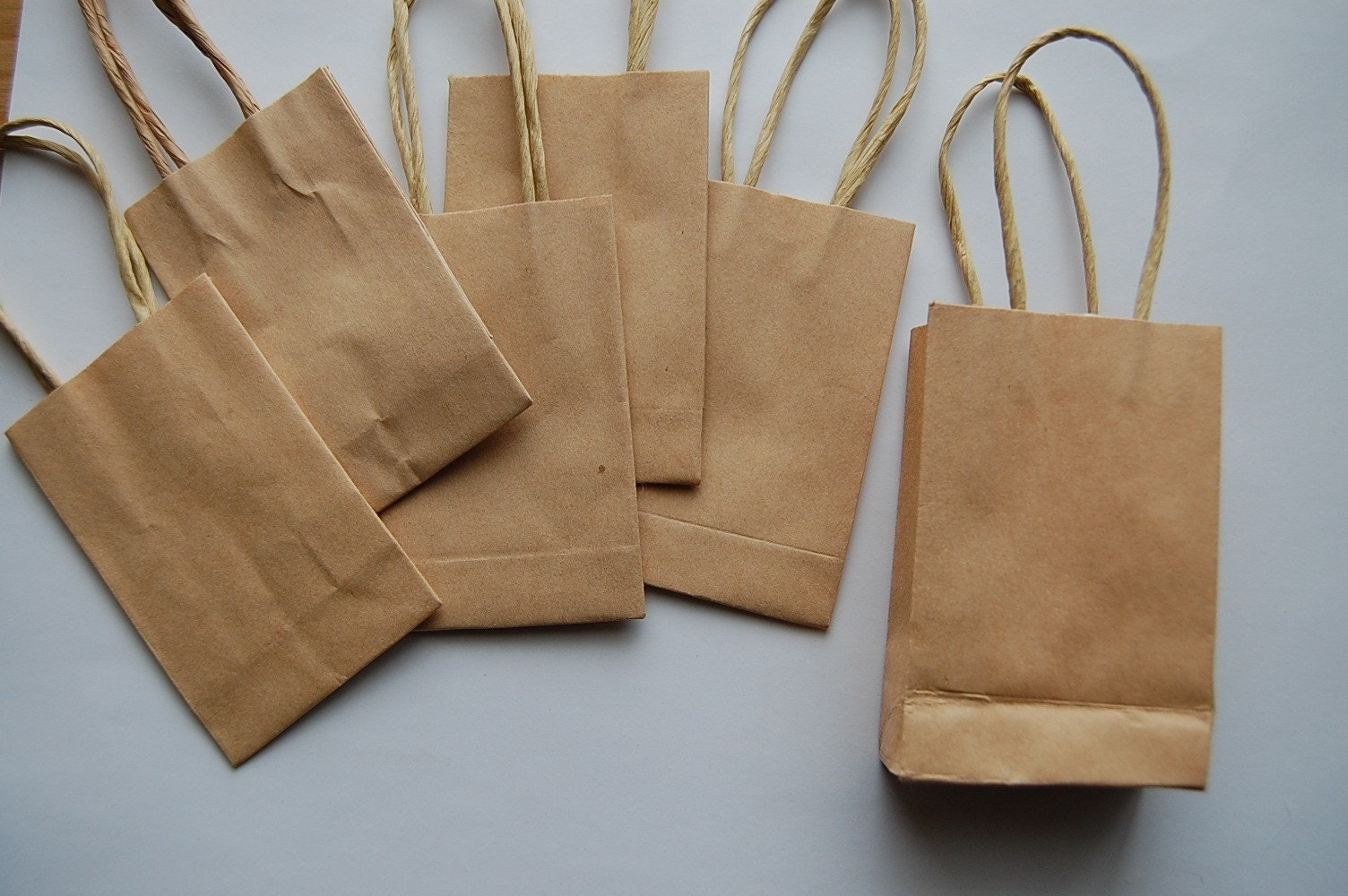 Tiny Crafty Paper Bags With Raffia Handles Set By