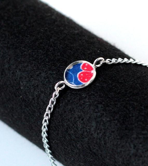 Vintage Fabric Bracelet Chain Bracelet Handmade Bracelet OOAK Red White Blue