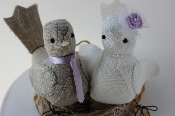 Love birds Wedding cake topper in Natural and Ivory Linen fabric Made to Order