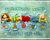 Mermaid with Under the Sea Fish, Custom Wall Art NAME BANNER, Personalized Felt Banner, Nautical Baby Nursery Decor, Sea Theme Party Decor