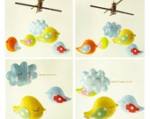 Musical Baby Mobile BIRD PARADE with Artist Choice Colors - Hanging Baby Mobile for Modern Nursery, Baby Crib or Playroom decor, Felt Mobile