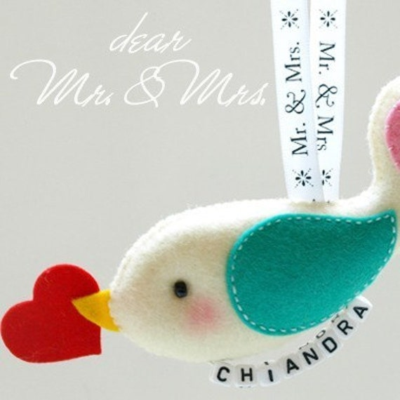 Unique Personalized Mr and Mrs Conversation Birds Keepsake - unique bridal weddings gifts