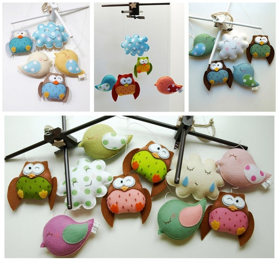 RESERVED for MEGAN FRIENDLY OWLS and BIRDS - Deco Mobile Hand-Crafted for the Home, Playroom or Nursery (listing for one)