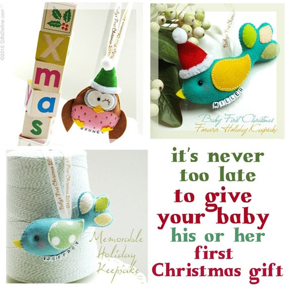 Baby First Christmas 2010 -- Santa Bird or Santa Owl Luxe Holiday Keepsake with Name Charm (Limited stock)