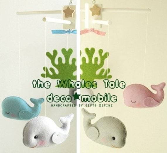 WHALES TALE Deco Mobile (Artist Choice Colors) - Modern Decorative Mobile Hand-Crafted for Creative Home, Playroom or Nursery