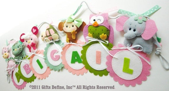 4-letter Personalized Fun Animals NAME BANNERAMA  - Wall Art Banner to decorate Creative Room or Nursery