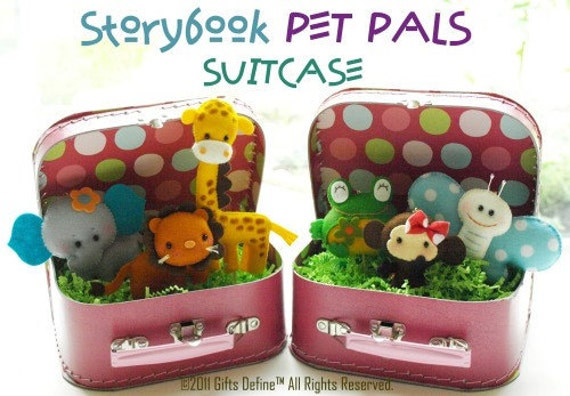 RESERVED for Jennifer Y -- Storybook 3 Pet Pals in SUITCASE - collectible - pretend play - playroom or nursery decor