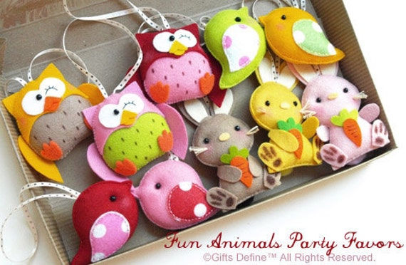 Set of 4 Custom Fun Animals Party Favors - Pocket Pets, Collectible Felt Animals, Pretend Play, Christmas Tree Ornaments, Party Decorations