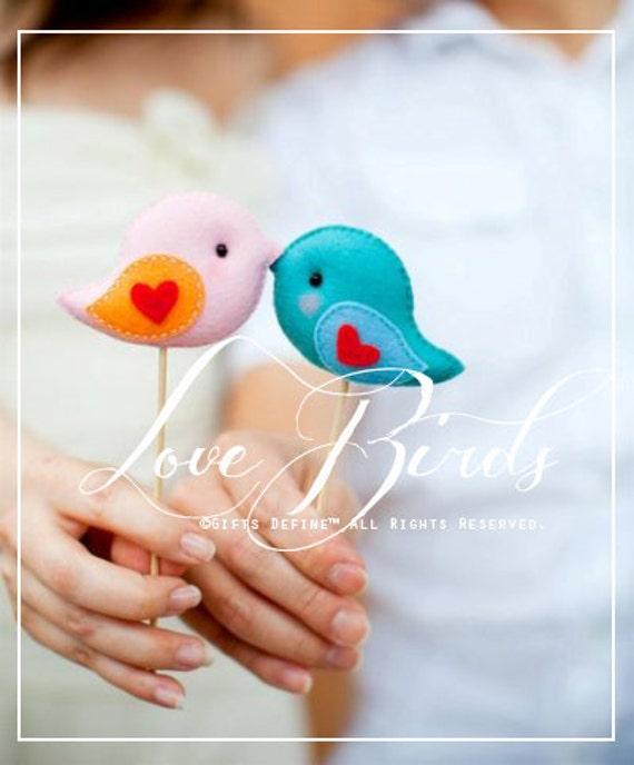 WEDDING LOVE BIRDS set of two Festive Wedding Cake Topper - Charming Cake Topper, Wedding Favors, Gifts for the Bride