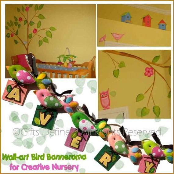 Custom for Ashley - Personalized Fairytale Birds NAME Bannerama Set of 4 - Custom Made Wall-art Name Banner for Modern Nursery Room Decor