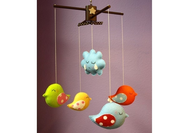 BIRD PARADE Custom Deco Mobile - Modern Decorative Mobile Hand-Crafted for Creative Home, Playroom or Nursery