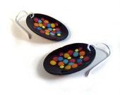 elated confetti enamel earrings / dark chocolate, marigold orange, aqua, atlantic blue, cherry red, sunny yellow