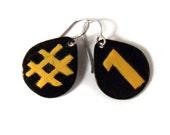 custom playbook enamel earrings / sports fan number earrings for pittsburgh pirates, penguins, steelers fans, and everyone else too