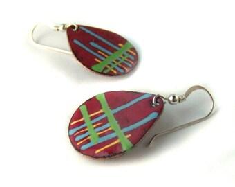 electric fields enamel teardrop earrings / burgundy red, neon lime green, aqua blue, buttercup yellow