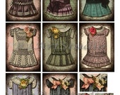 Digital Collage SHeet Vintage Dresses