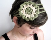 Women's Large Flower Crochet Headband, Hairband - Summer Blossom