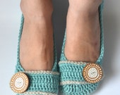 Crochet Slippers House Shoes Ballet Flats - Robin's Egg & Linen - Made to Order