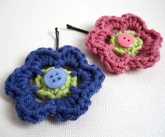 Crochet Flower Hairpins, Hair Accessories, Bobby Pins - Iris and Rose