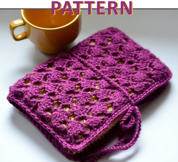 Easy Crochet Book Cover : Lace crochet ereader case pattern kindle nook instant
