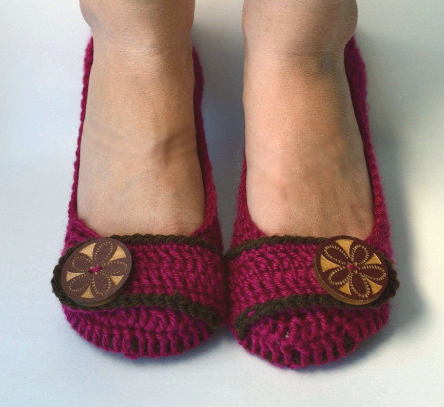 Crochet Womens Slippers Flats House Shoes Fuchsia And