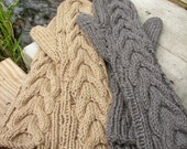 Organic Cotton- Set of Two Pair - Long Cabled Bella Mittens-- Youth -Teen- Child