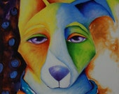 Archival Giclee Print of Macy the Border Collie in Abstract Art