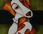 """Dog Print Jack Russell and her child Art  8.5"""" X 8.5"""""""