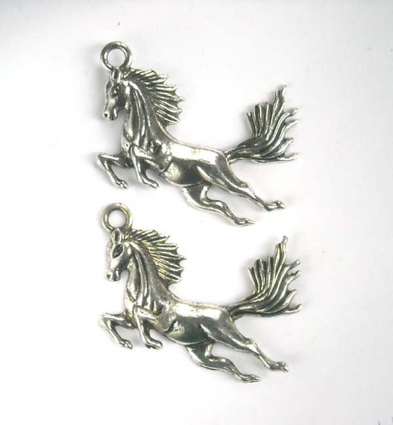 2 Silver Horse Charms