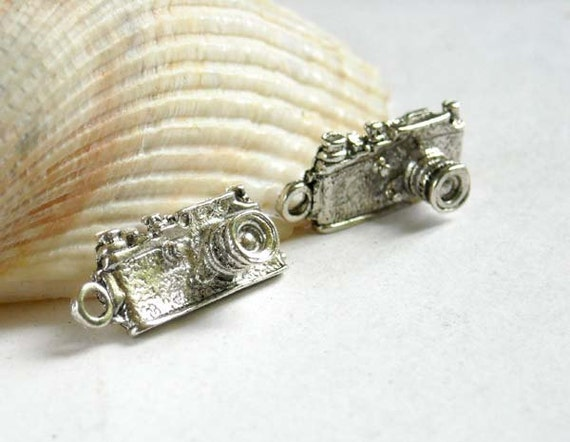 2 Antique Silver Camera Charms
