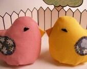 "Plush Bird - Pink ""Little Bean Bird"" with grey floral wings"