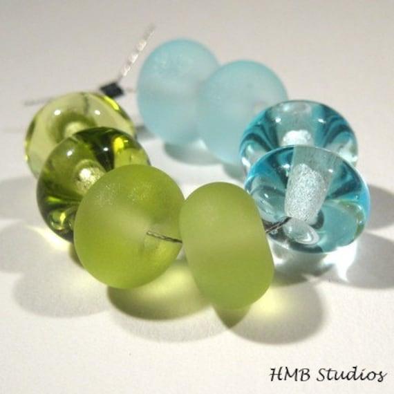 HMB Studios - Blue and Green Petite Rounds (8) Lampwork Beads