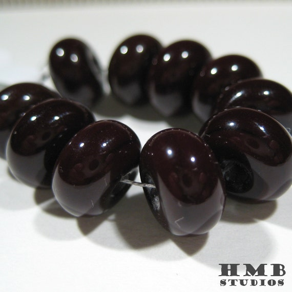 SALE - Small Glass Spacer Beads - Shiny Chocolate Brown