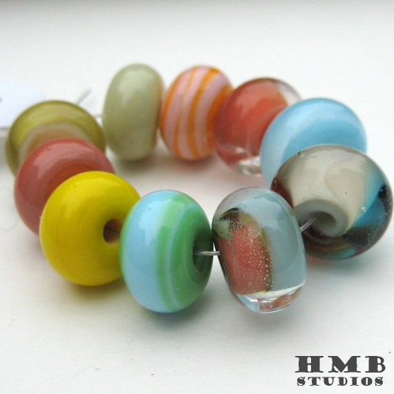 Handmade Lampwork Beads - Mix Set Small Rounds