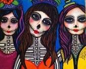 Las Tres Catrinas PRINT of original painting 8x10 inches Dia de los Muertos