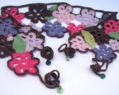 SALE - Hippie Crochet Belt with beaded ties - Funky Floral and Unique - Festival clothing - Summer fashion -  Cornwall UK