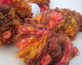 Hand dyed wool - chunky bulky weight mohair loop knitting crochet yarn - Perran Yarns - Autumn Glow - brown red orange