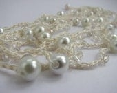 Crocheted bead necklace or wrap bracelet, ivory silk yarn with glass pearl beads, wedding, prom, cream vanilla
