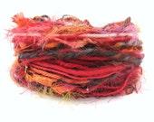 Yarn Fiber Bundle, Flaming Fire, 30metres cut lengths, hot red orange brown embers, fancy textured wool, mixed fibers