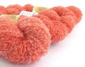 Orange Sorbet aran alpaca blend boucle yarn, hand-dyed, 50grams, light worsted knitting crochet wool, Perran Yarns, pumpkin salmon peach