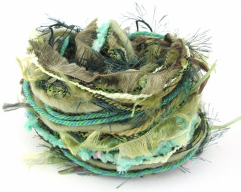 Specialty Yarn Inspiration Pack, Groovy Greens, 30 metres assorted yarns bundle, spring asparagus hunter jungle mint emerald embellishment