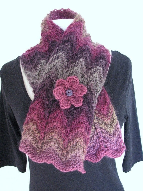 Ripple Stitch Knitting Pattern Scarf : Hand Knitted Scarf chunky ripple zig-zag wave design by SixSkeins