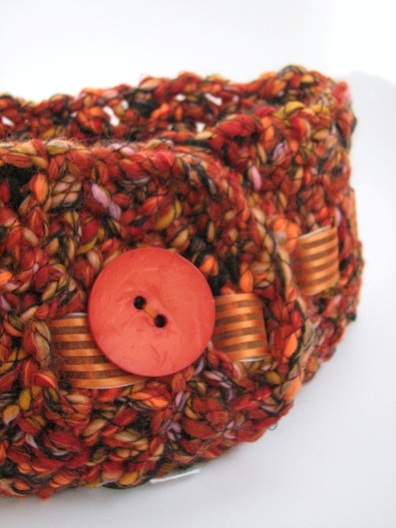 Orange chunky cowl, large button, organza ribbon, crochet short scarf, neckwarmer, brown, flame fire