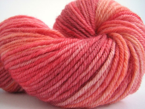 Hand dyed wool, Superwash Bluefaced Leicester Double Knitting light worsted DK bfl yarn, 100grams Perran Yarns, Romance, soft red coral pink