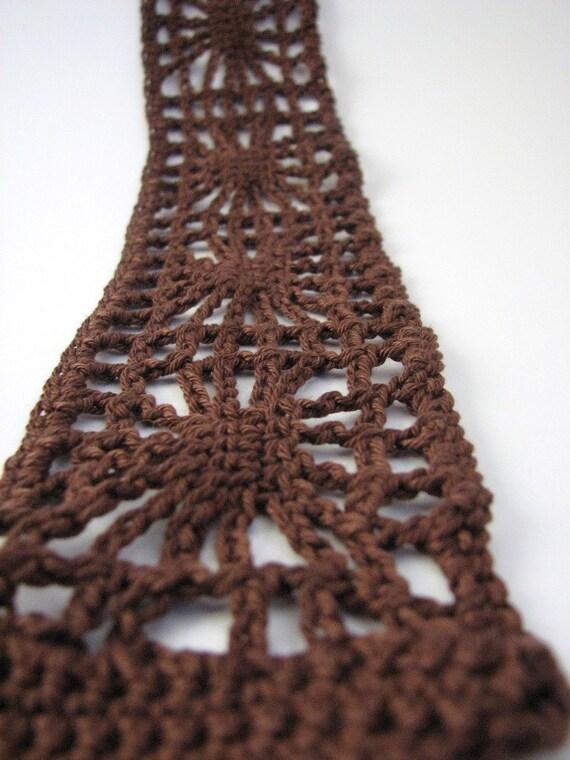 SALE Brown Crochet Hairband, Spiderweb wide cotton headband, tie fastening, chestnut lacy hair accessories