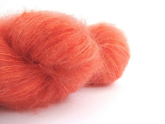 Fingering 4ply kid mohair silk yarn, hand-dyed, Tangerine Tango, knitting crochet wool, Perran Yarns, Orange Sorbet, pumpkin flame carrot