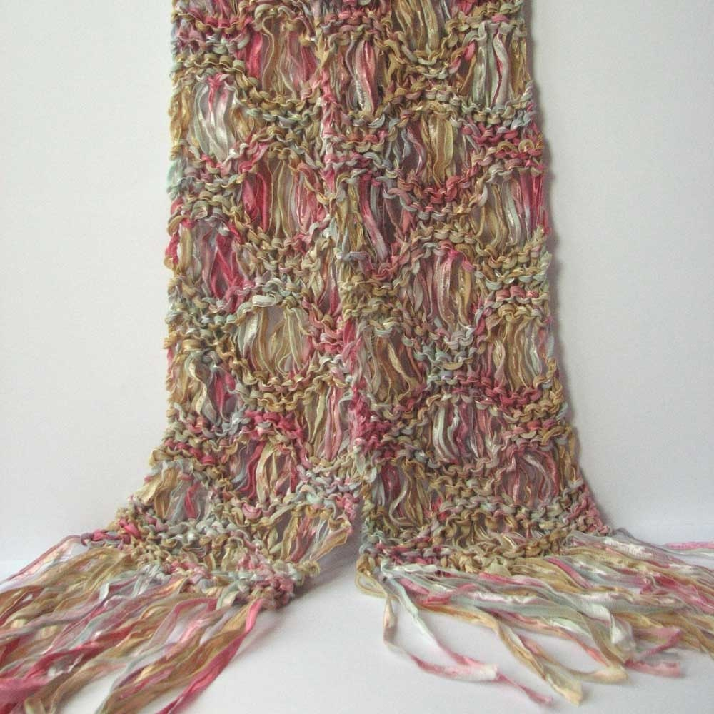 Knitting Summer Scarves : Knitted summer ribbon scarf drop stitch lacy by sixskeins